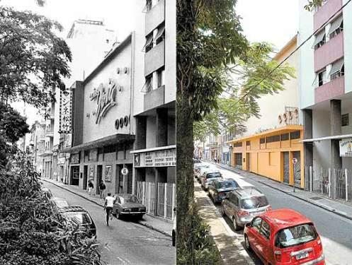 Da Folha Imagem: à esquerda, o Cine Joia em registro dos anos 80, na praça Carlos Gomes; hoje, local abriga igreja pentecostal
