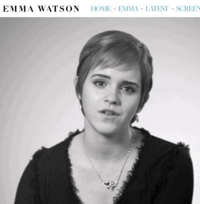Emma Watson no vídeo de seu site