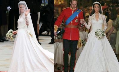 Detalhe do vestido real