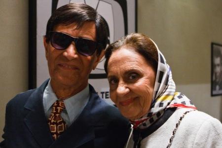 Laura Cardoso e Nelson Xavier no intervalo das gravações de Chico Xavier